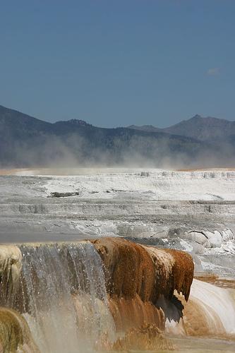 mammoth hot springs, yellowstone, yellowstone national park, wyoming, hot spring