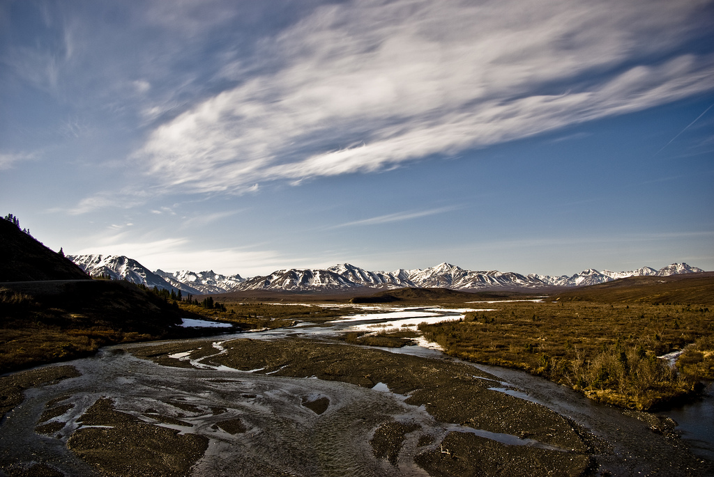 denali national park, alaska, mountains, river