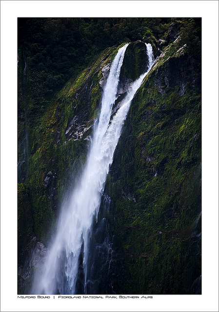 fiordland national park, new zealand, waterfall, milford sound
