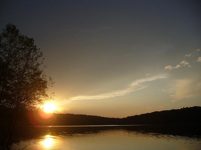 hoosier national forest, lake monroe, sunset, indiana