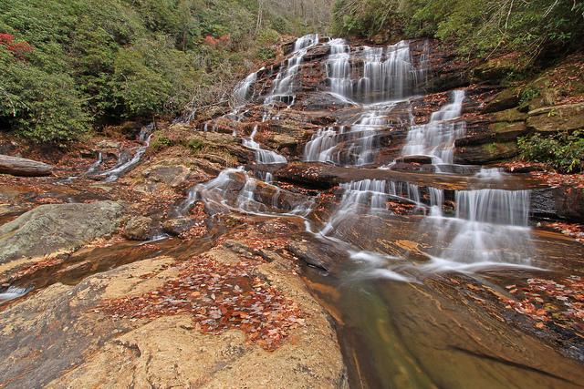 nantahala national forest, north carolina, upper glen falls, waterfall