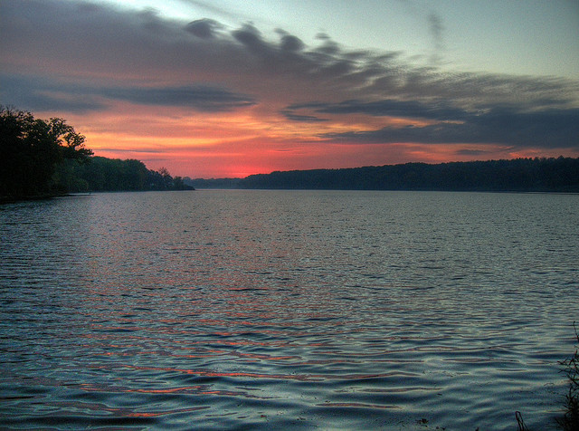 Rock Cut State Park, Illinois, lake, sunset