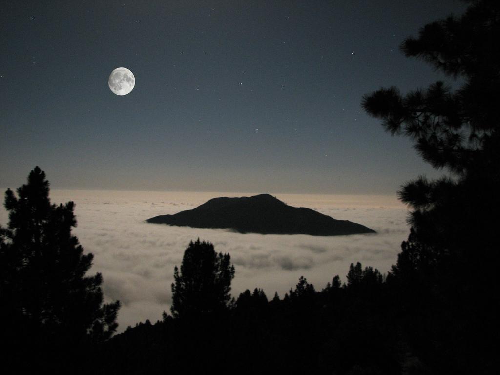san bernardino national forest, california, mountains, moon, clouds