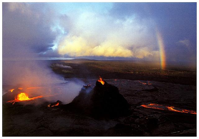 lava, hawaii, volcanoes national park, rainbow