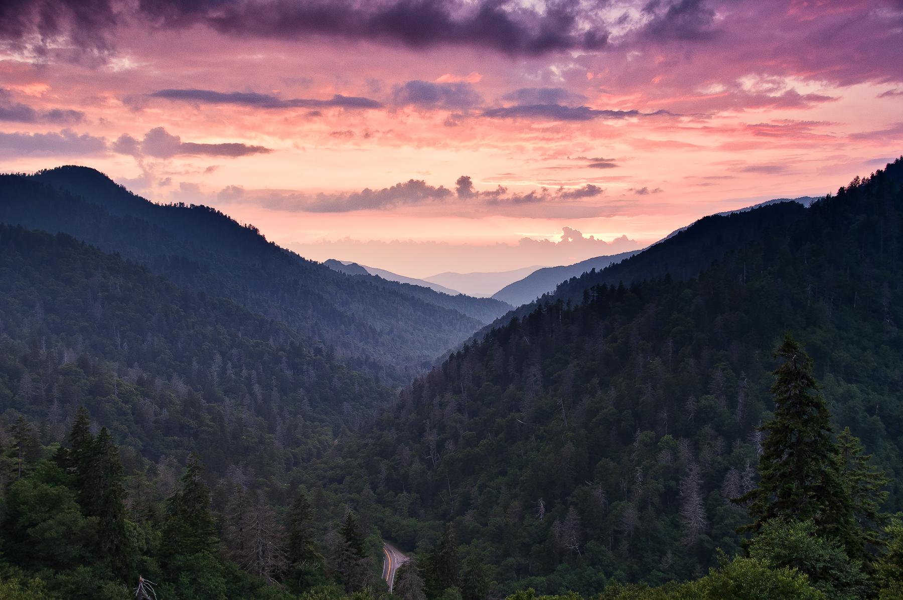 morton's overlook, great smoky mountains national park, sunset