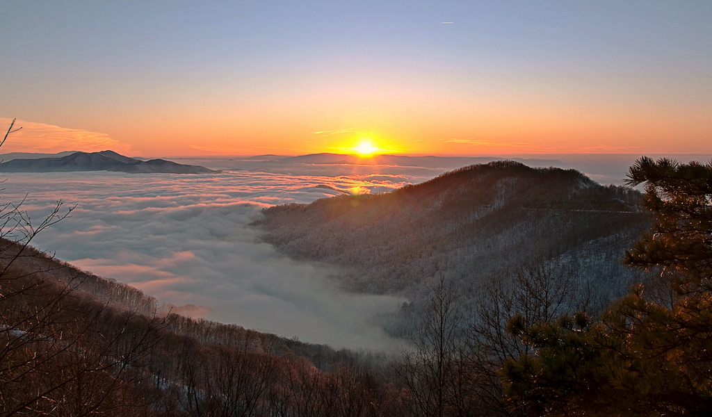 cherohala skyway, cherokee national forest, tennessee, sunset