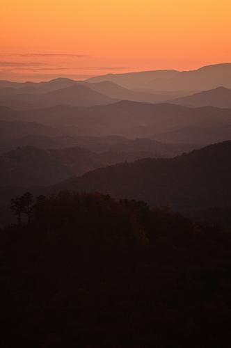 look mountain, sunset, great smoky mountains national park